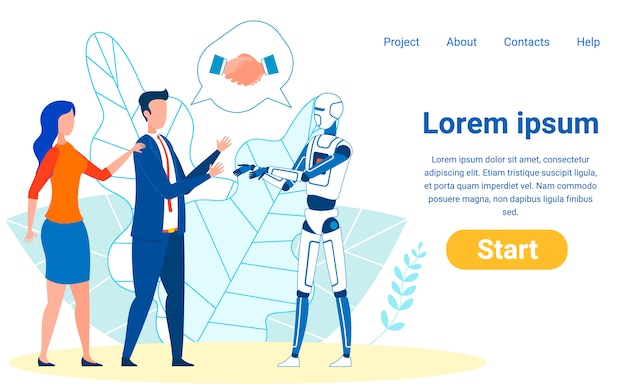 Partnerschaft mit maschinen, algorithmen Premium Vektoren