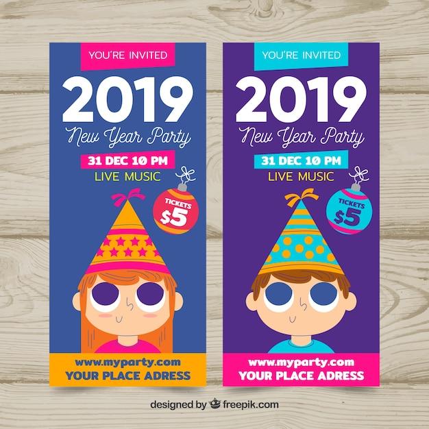 Party banner des neuen jahres 2019 Kostenlosen Vektoren