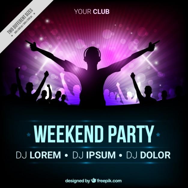 Party-broschüre mit silhouette dj Premium Vektoren
