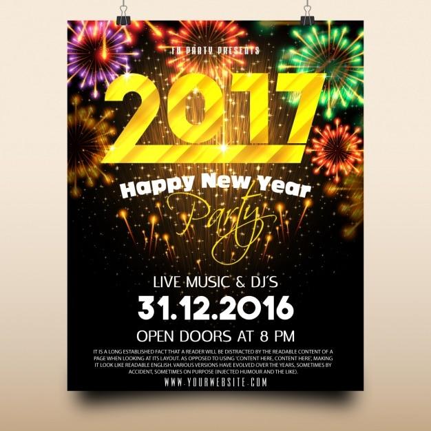 Party des neuen Jahres Plakatentwurf Kostenlose Vektoren
