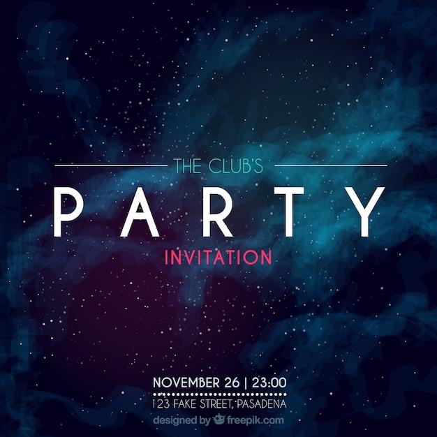 Party einladung, galaktischen stil Kostenlosen Vektoren
