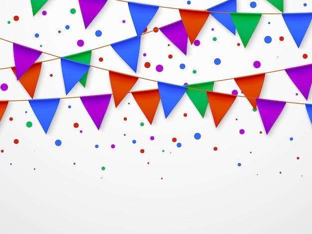 Party flag girlande mit konfetti. kindergeburtstag, zirkuskarneval fiesta einladung retro. Premium Vektoren