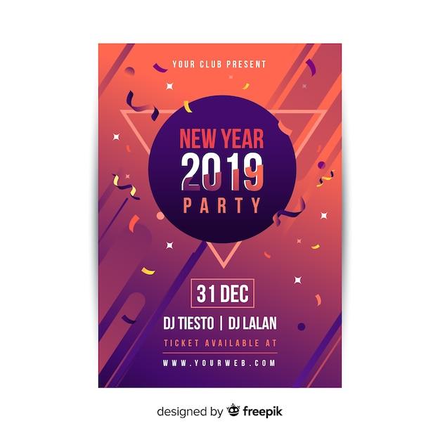 Party flyer des neuen jahres 2019 Kostenlosen Vektoren