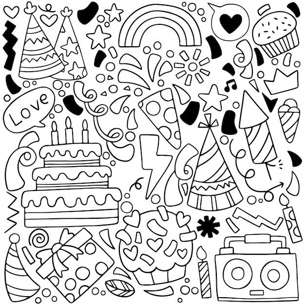 Party gekritzel alles gute zum geburtstag grußkarte mit zeichnungselementen Premium Vektoren