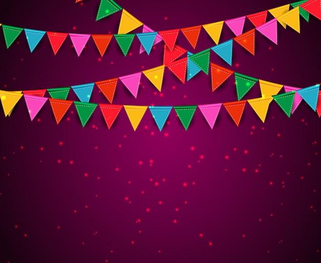 Party hintergrund mit fahnen Premium Vektoren