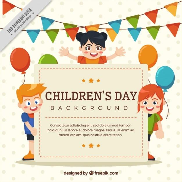 Party Hintergrund mit netten Kindern Kostenlose Vektoren
