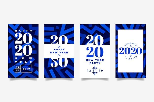Party instagram geschichtenansammlung des neuen jahres 2020 Kostenlosen Vektoren