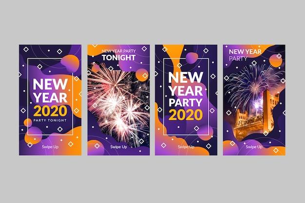 Party instagram geschichtenansammlung des neuen jahres Kostenlosen Vektoren