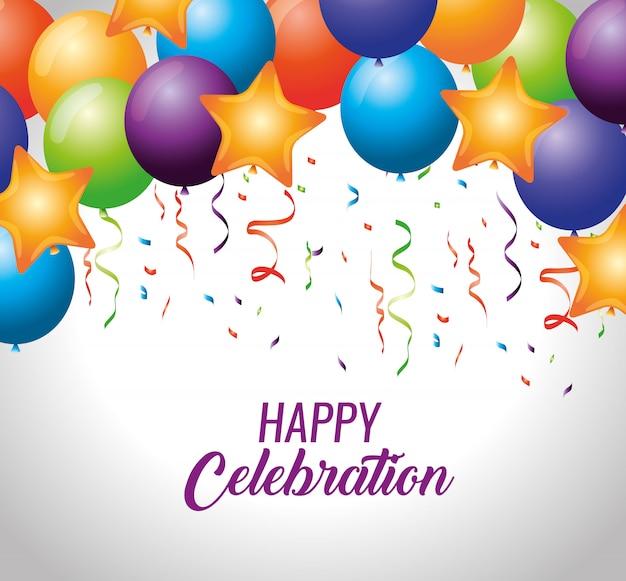 Party luftballons mit sternen und konfetti dekoration Kostenlosen Vektoren