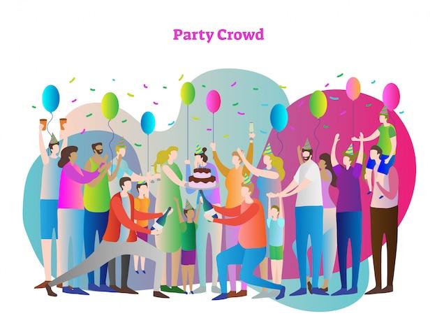 Party menge vektor-illustration Premium Vektoren