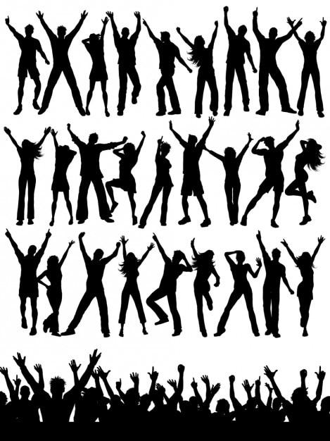 Party-menschen silhouetten sammlung Kostenlosen Vektoren