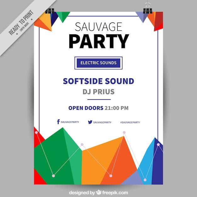 Party-plakat mit bunten geometrischen formen design ...