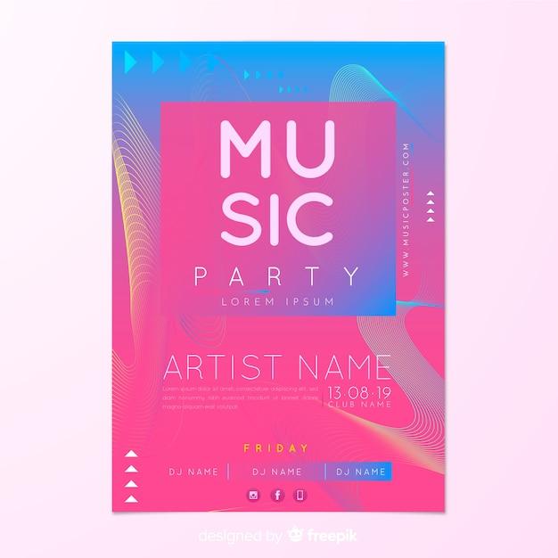 Party plakat vorlage mit abstrakten formen Kostenlosen Vektoren