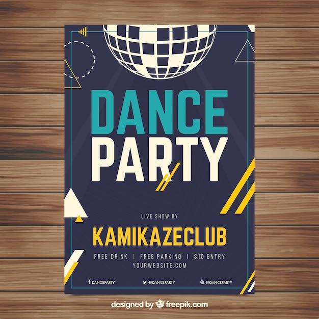 Party poster vorlage mit discokugel Kostenlosen Vektoren