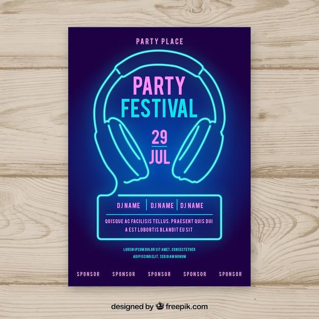 Party Poster Vorlage mit Neonlichtern | Download der kostenlosen Vektor