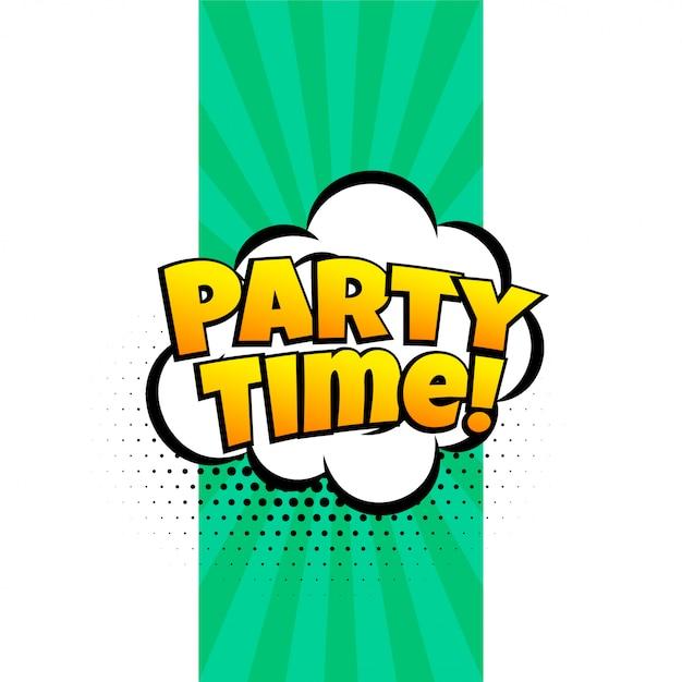 Party time ausdruck banner im comic-stil Kostenlosen Vektoren