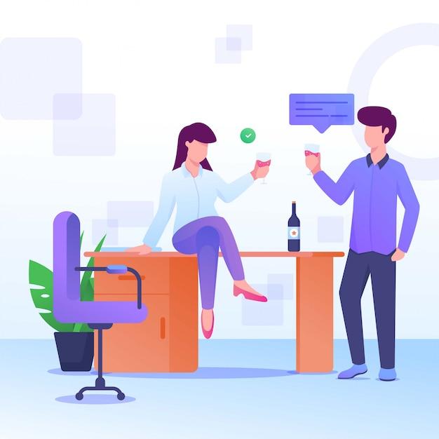 Party und betrunkener wein frau und mann Premium Vektoren
