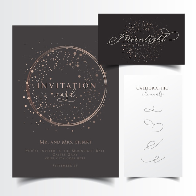 Partyeinladung und visitenkartendesign mit editierbaren kalligraphischen elementen Premium Vektoren