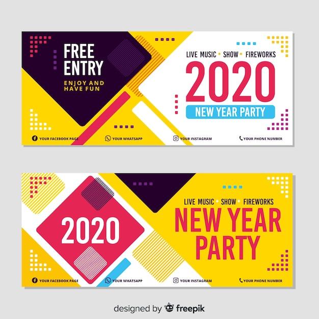 Partyfahnen des neuen jahres 2020 im flachen design Kostenlosen Vektoren
