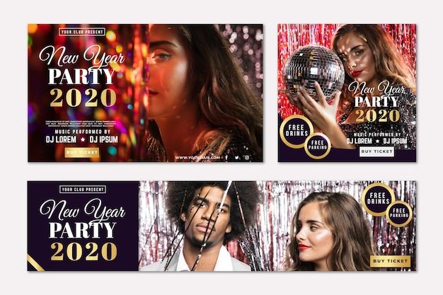 Partyfahnen des neuen jahres Kostenlosen Vektoren