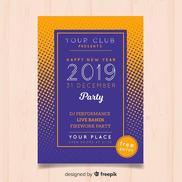 Partyflieger des neuen jahres 2019 Kostenlosen Vektoren