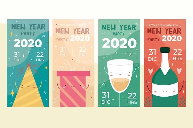Partygeschichteset des neuen jahres instagram Kostenlosen Vektoren
