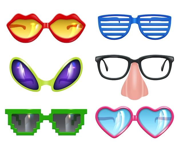 Partygläser. maskerade realistische lustige maske farbige party mode farbige symbole vektorsatz. lustige brille und sonnenbrille zur feierillustration Premium Vektoren