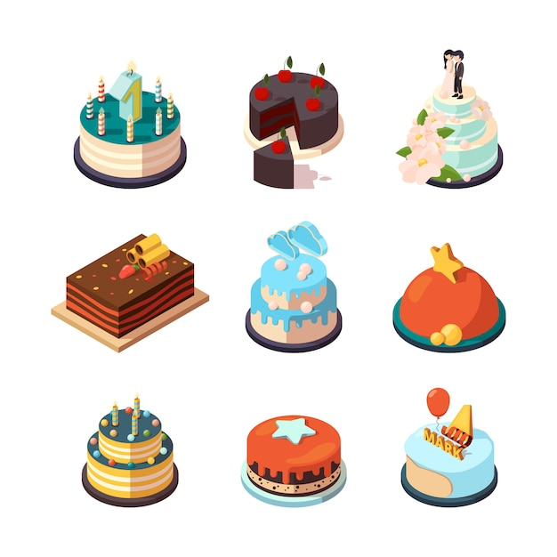 Partykuchen. süßes leckeres essen mit erdbeer- und schokoladencreme-geburtstagstorten Premium Vektoren