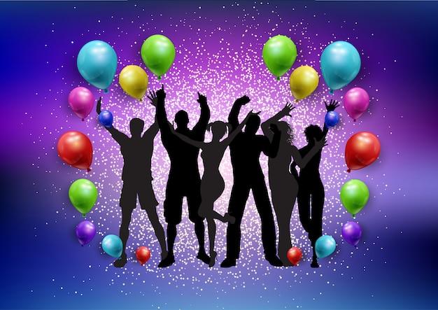 Partymasse auf ballonen und einem funkelnhintergrund Kostenlosen Vektoren