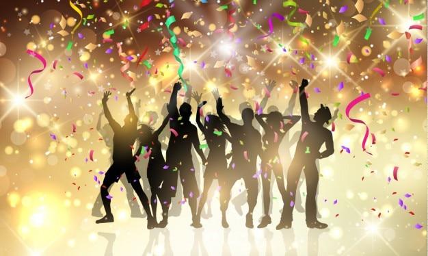 Partypeople mit luftschlangen und konfetti Kostenlosen Vektoren
