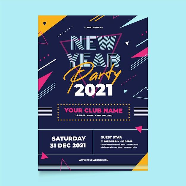 Partyplakatvorlage des neuen jahres 2021 im flachen design Kostenlosen Vektoren