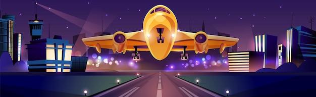 Passagier- oder frachtflugzeug, das in der nacht auf der piste startet oder landet, lichter der stadt Kostenlosen Vektoren