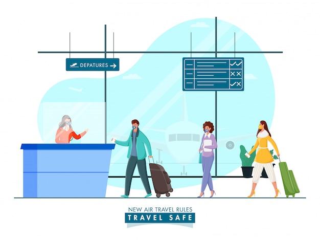 Passagiere tragen schutzmasken vor dem empfangsschalter des flughafens, um die soziale distanz zu wahren und coronavirus zu vermeiden. Premium Vektoren