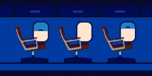 Passagiersitze in der flugzeugkabine Premium Vektoren