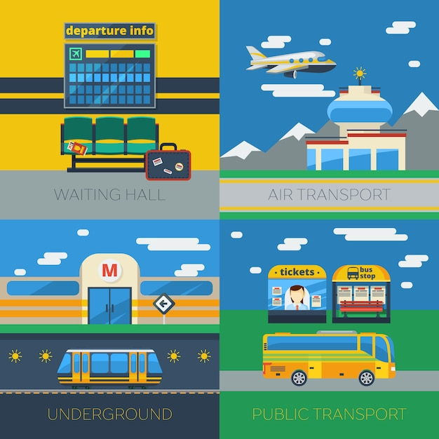 Passagiertransport 2x2 concept Kostenlosen Vektoren
