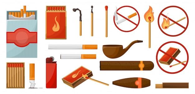 Passt zum großen satz. brennendes streichholz mit feuer, geöffnete streichholzschachtel, holzkohle. lichter. unterschreibe kein feuer. vektorillustrationskarikaturstil lokalisiert. Premium Vektoren