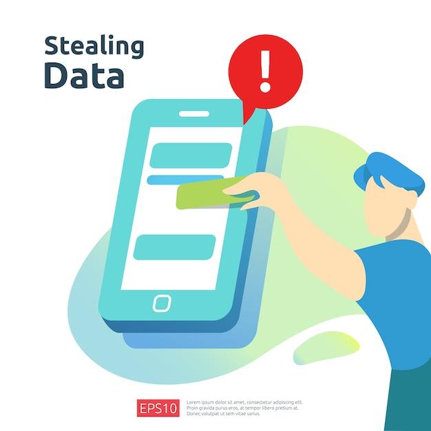 Passwort-phishing-angriff. diebstahl personenbezogener daten. illustration des internet-sicherheitskonzepts Premium Vektoren