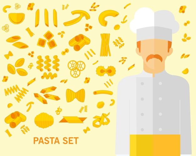 Pasta set konzept hintergrund. Premium Vektoren