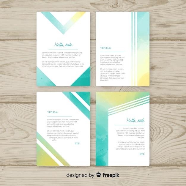 Pastell-aquarell-broschüren-schablonensammlung Kostenlosen Vektoren