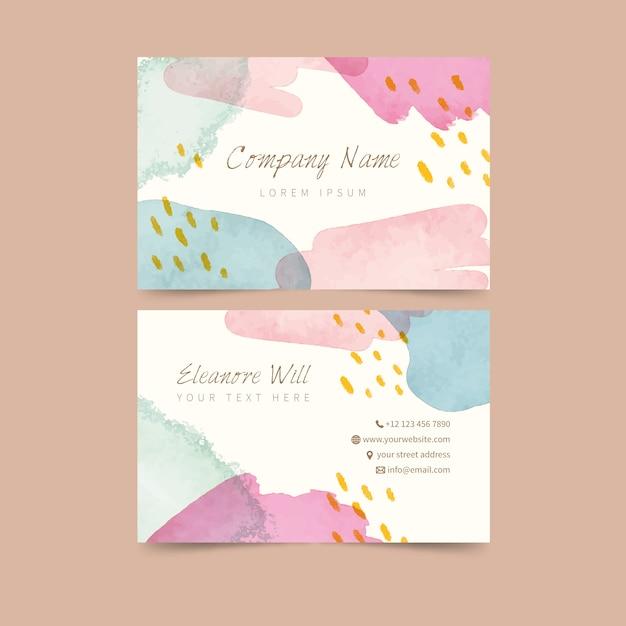 Pastell farbige flecken abstrakte visitenkarteschablone Kostenlosen Vektoren