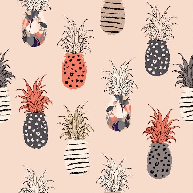 Pastell-hand gezeichnetes ananas-ausfüllmuster Premium Vektoren