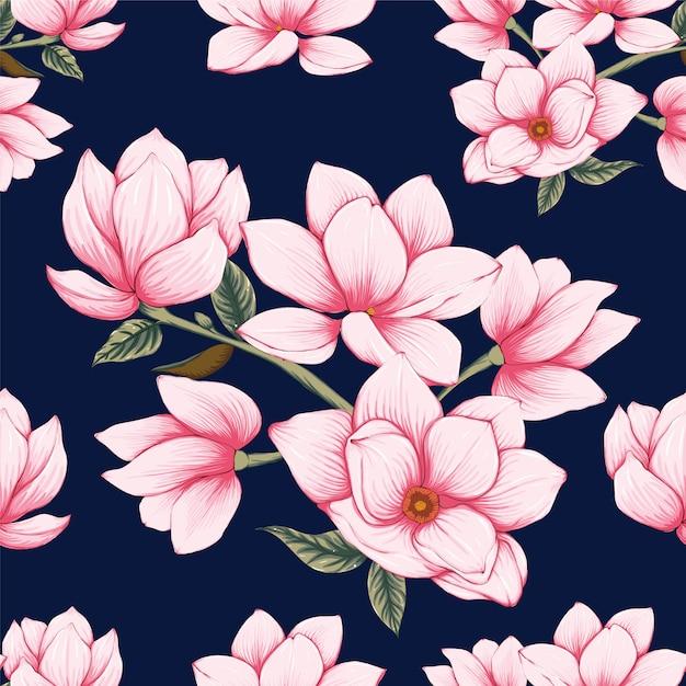 Pastell-magnolie des nahtlosen musterrosas blüht hintergrund. Premium Vektoren