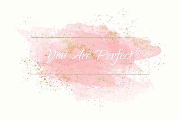 Pastell pfirsich aquarell mit goldenem rahmen Kostenlosen Vektoren