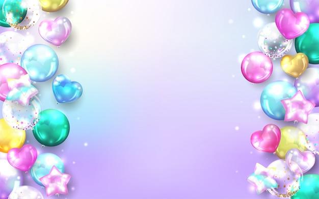 Pastellballonhintergrund für alles- gute zum geburtstagkarte. Kostenlosen Vektoren