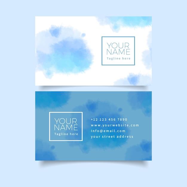 Pastellblaue farben und bürste streicht visitenkarte Kostenlosen Vektoren