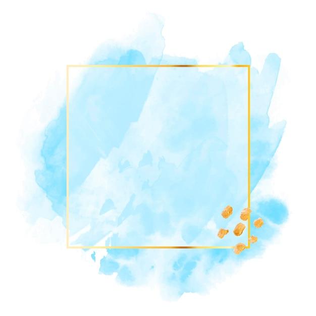 Pastellblaues aquarell mit goldenem rahmen Kostenlosen Vektoren
