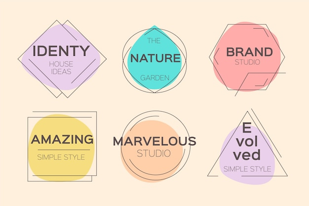 Pastellfarben minimales logo gesetzt Kostenlosen Vektoren