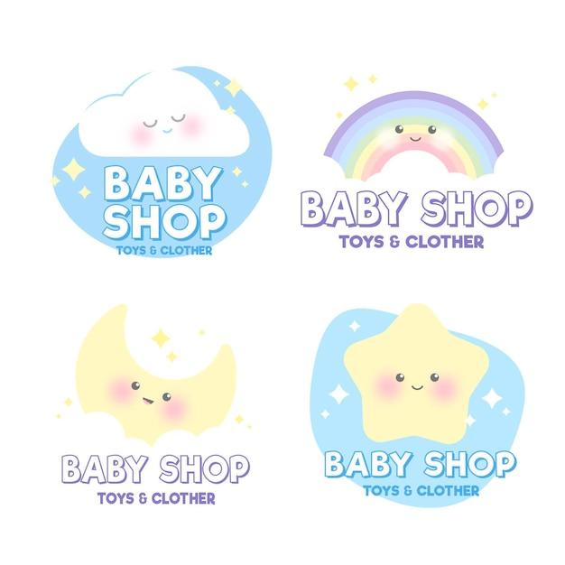 Pastellfarbene baby-logo-schablonensammlung Kostenlosen Vektoren