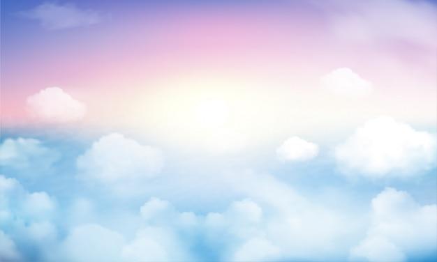 Pastellhimmel und weißer wolkenhintergrund Premium Vektoren
