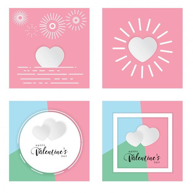 Pastellhintergrundliebe glücklicher valentine day-textbox weiße herzvektorillustration Premium Vektoren